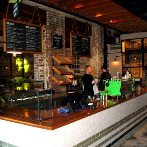 Reclaimed Blackbutt benchtop - Grounds Coffee