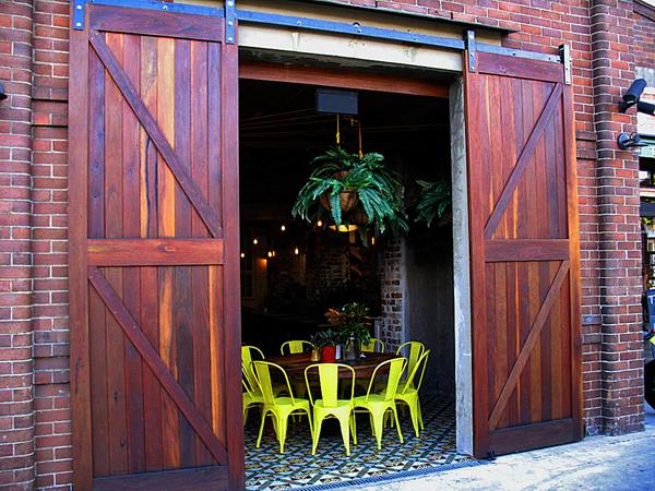 Red Ironbark Barn Doors - The Grounds Coffee Shop