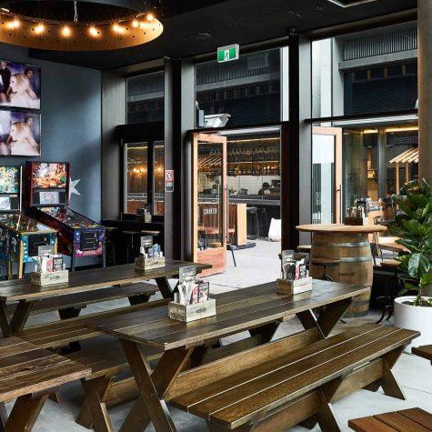 Spotted Gum tables & seats - Beerhaus Barangaroo